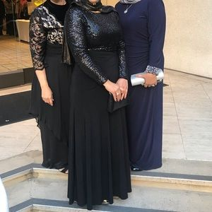 Ralph Lauren Black Long Sleeve Sequin Gown